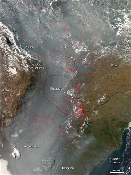 Fires and Smoke Across South America
