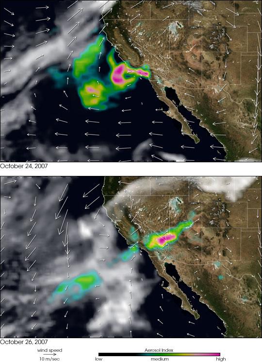 Winds Blow Smoke in California