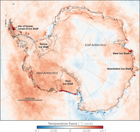 Two Decades of Temperature Change in Antarctica