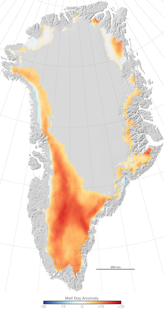 Melting Anomalies on Greenland in 2007