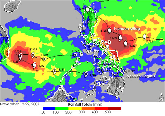 Typhoons Mitag and Hagibis Drench the Philippines