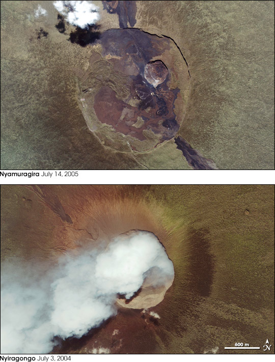 Summit Close Ups of Two African Volcanoes