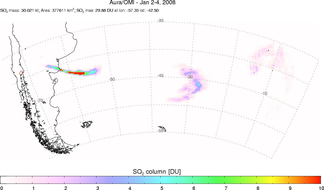 Sulfur Dioxide Plume from Llaima Volcano - related image preview