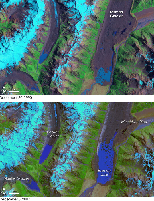 Retreat of the Tasman Glacier