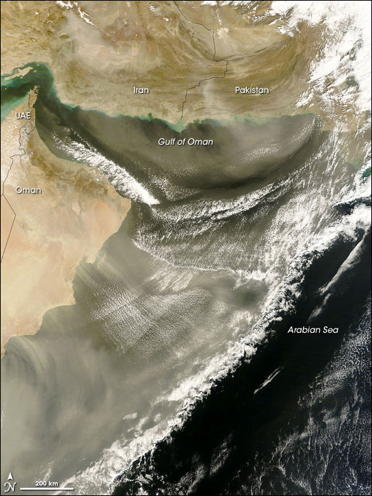 Dust over Gulf of Oman, Arabian Sea
