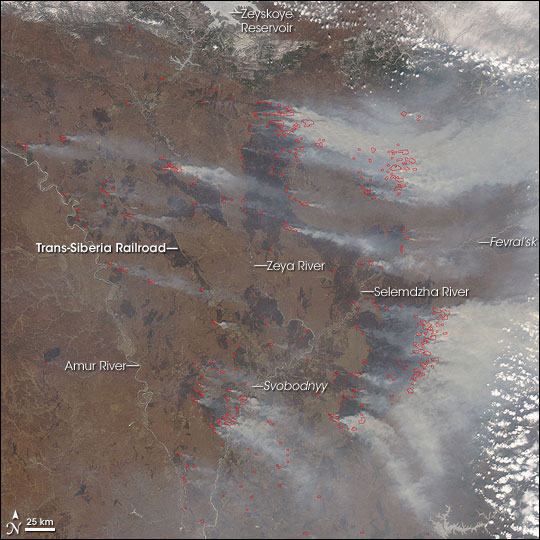 Fires in Amur Oblast', Russia