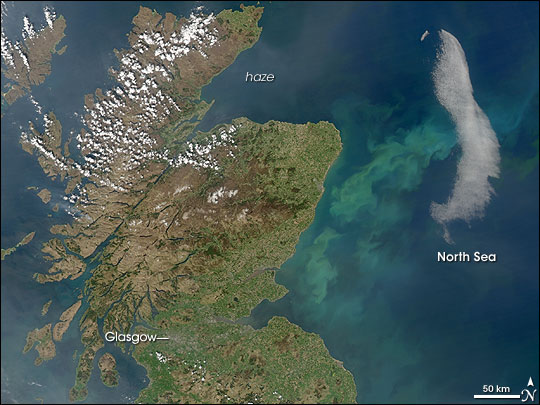 Phytoplankton Bloom in North Sea off Scotland