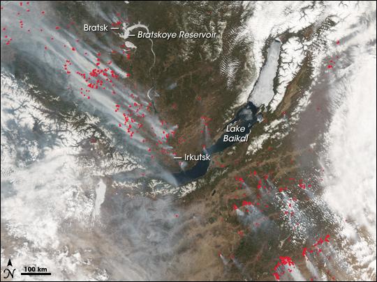 Fires Around Lake Baikal, Russia