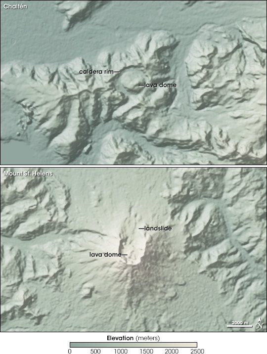 Comparison of Chaiten and Mount St. Helens