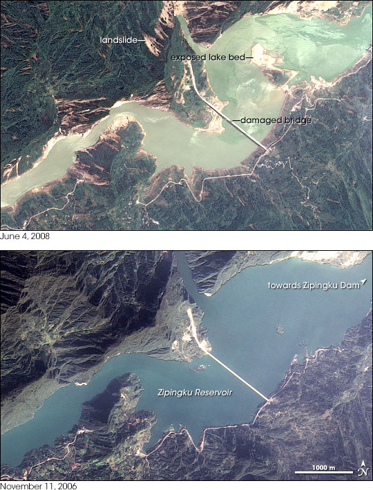 Quake Lowers Zipingku Reservoir