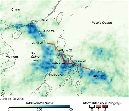 Rainfall from Typhoon Fengshen