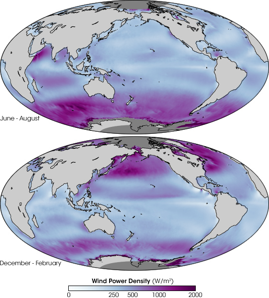 Global Ocean Wind Energy Potential