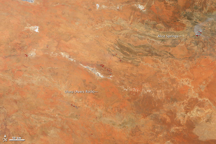 Nighttime Fires near Alice Springs, Central Australia