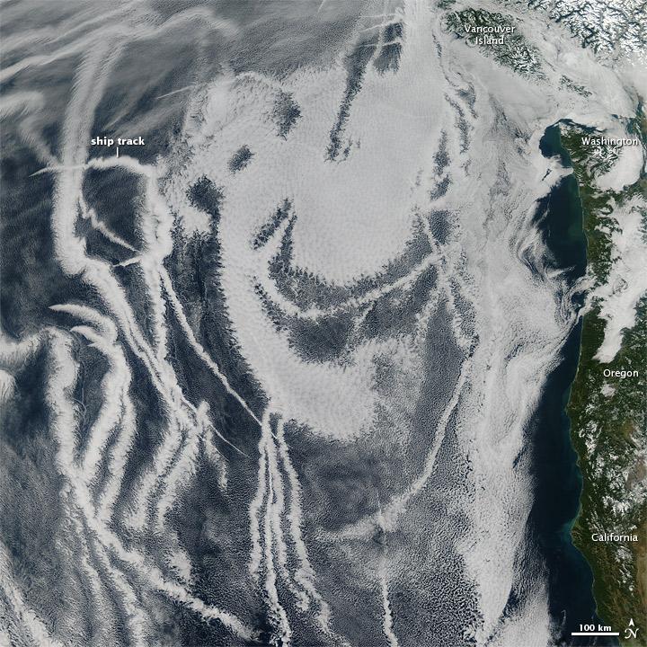 Ship Tracks off North America