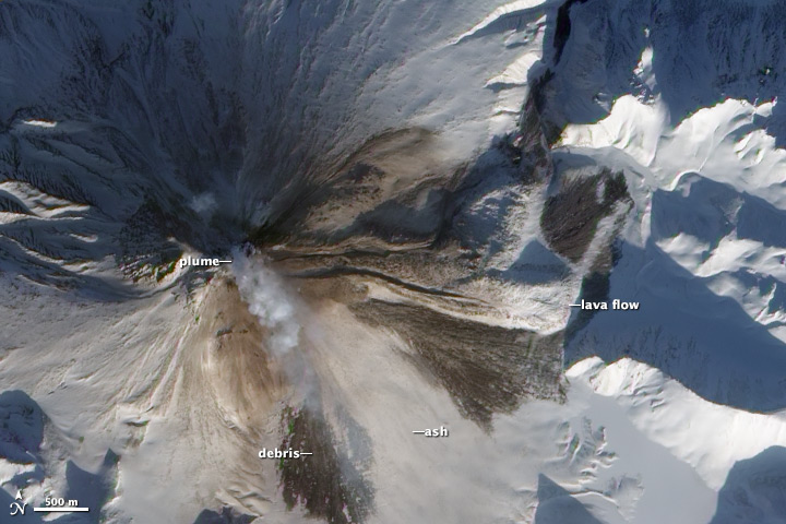 Ash and Debris on Kizimen Volcano
