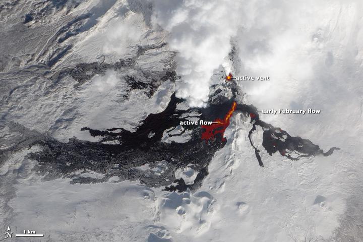 Lava Flows on Tolbachik Volcano