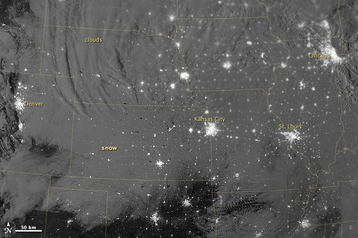 Nighttime View of Snow across the United States - related image preview