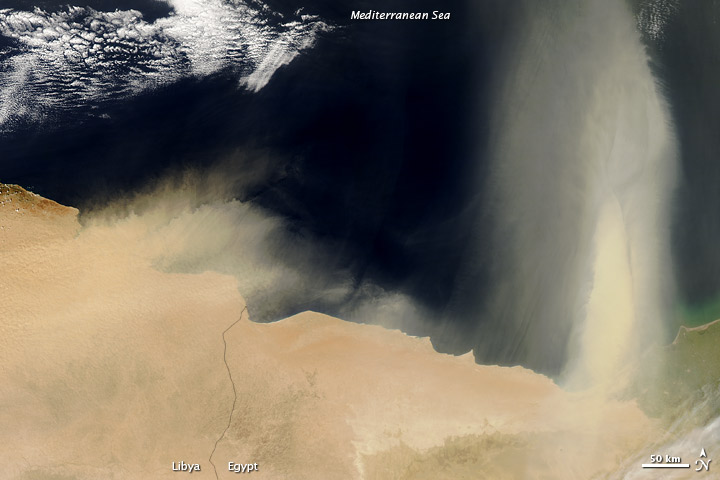 Dust Plumes over the Mediterranean Sea