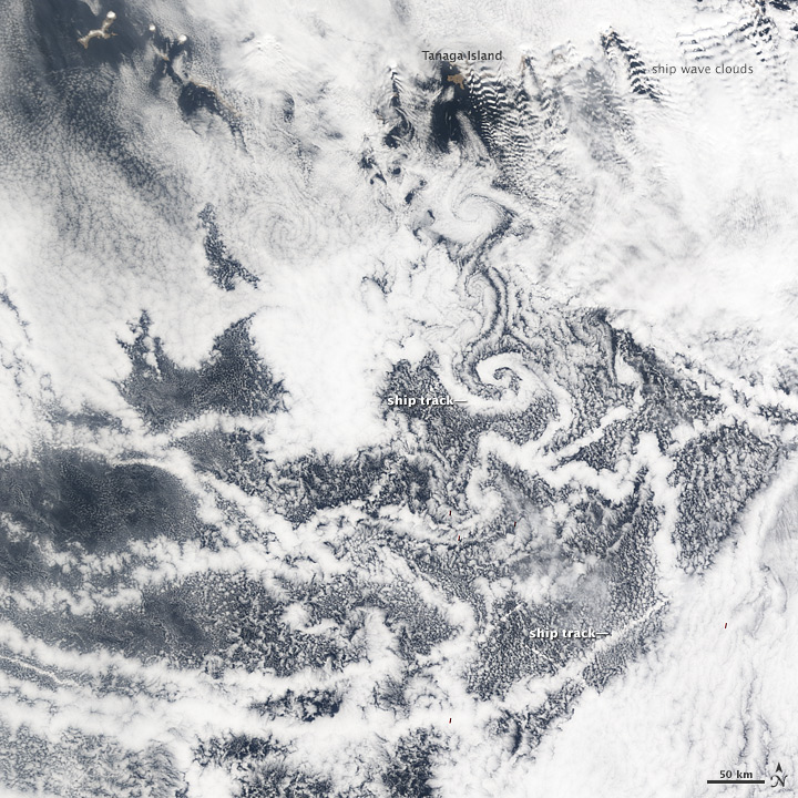 Ship Tracks and Vortices over the North Pacific Ocean