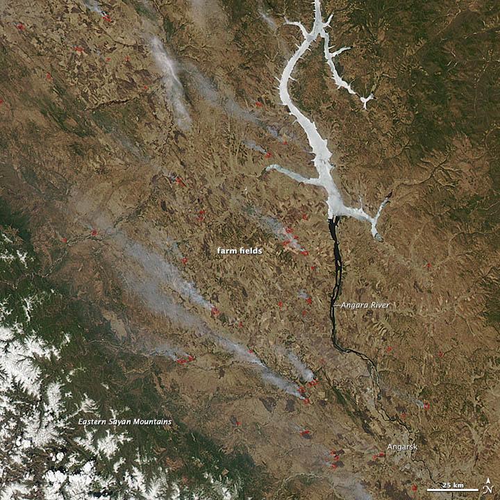 Burning Fields near the Angara River