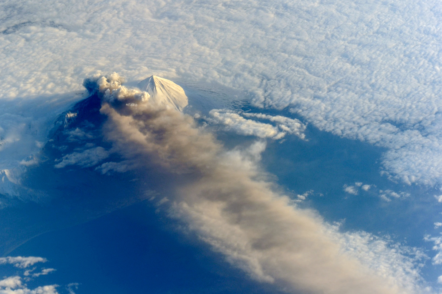 volcano eruption from space station