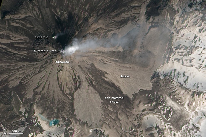 Ash-covered Snow on Kizimen Volcano - related image preview