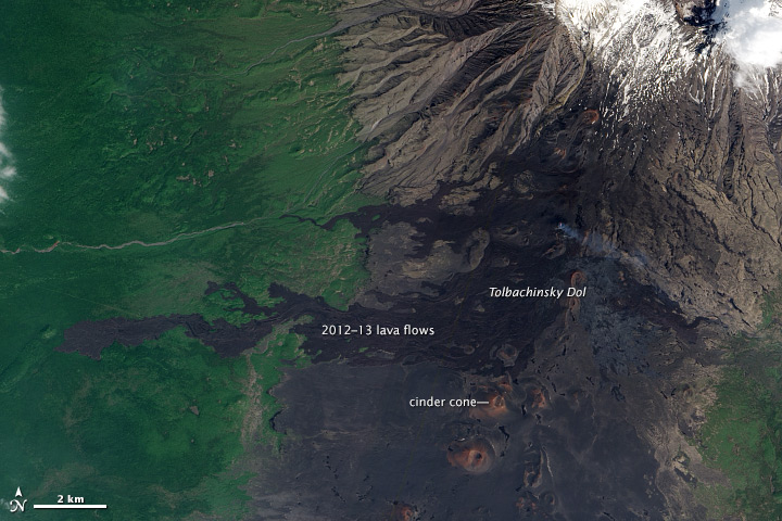 Monochromatic Lava Fields on Tolbachik Volcano