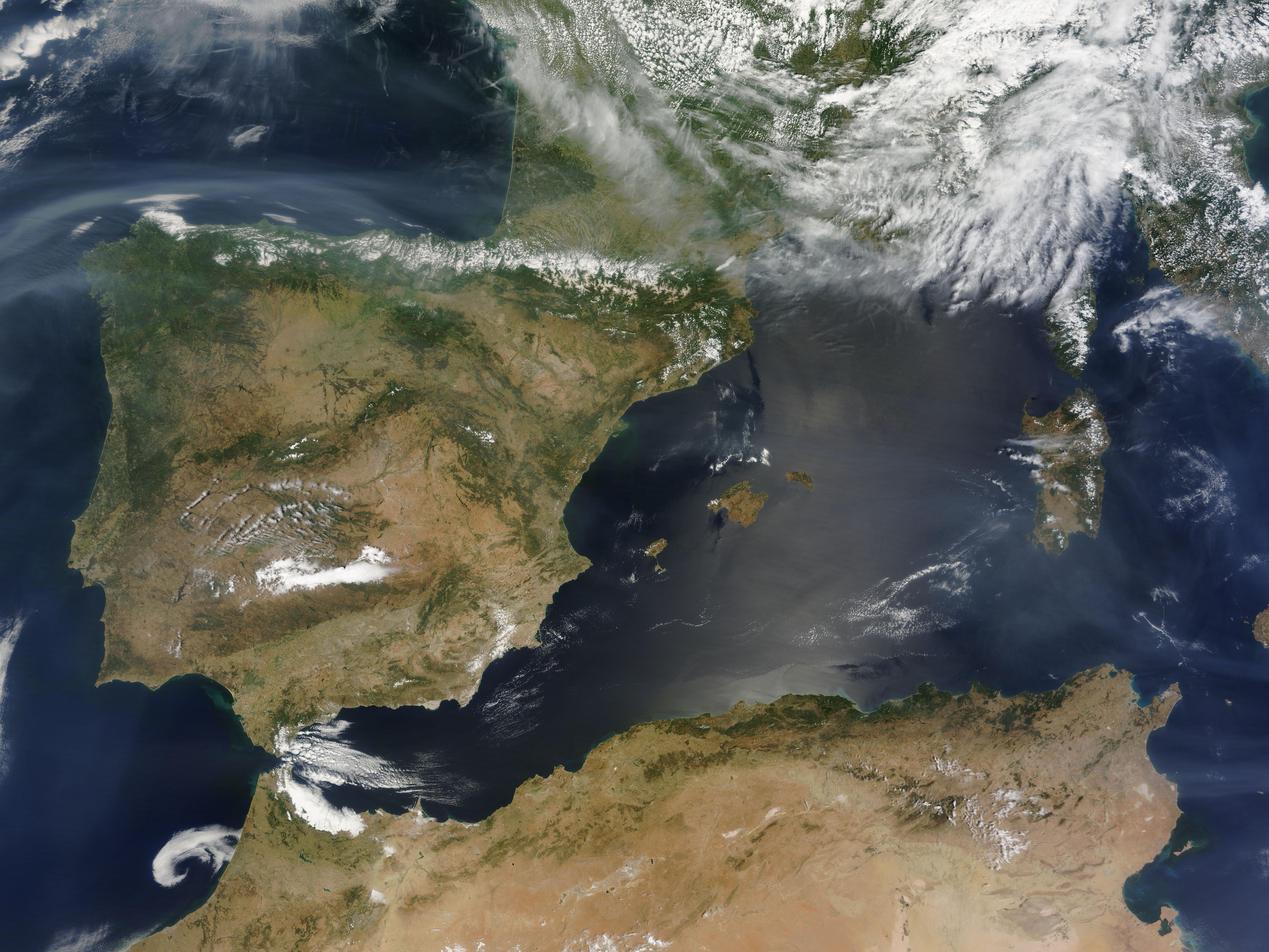Satellite Map Of Spain.North American Smoke Over Spain