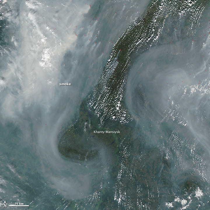 Smoke across central Russia