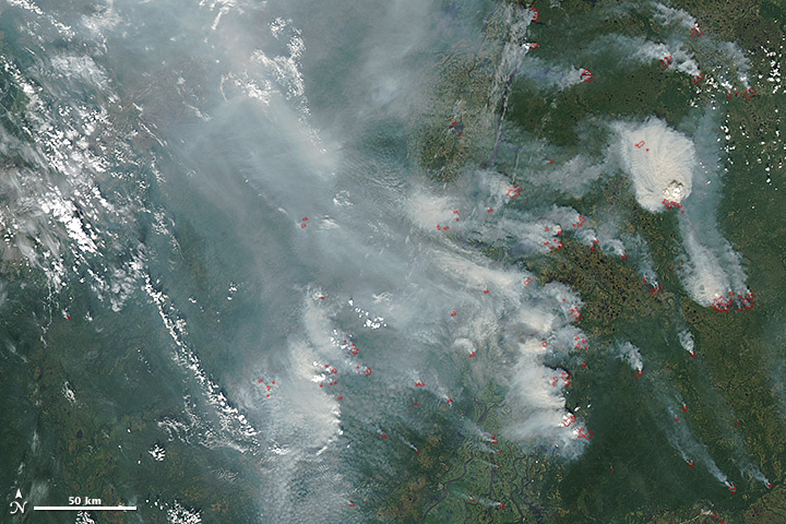 Wildfires and Smoke across central Russia