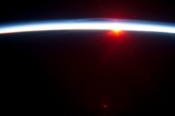 Sunrise over the Aleutian Islands, with Noctilucent Clouds