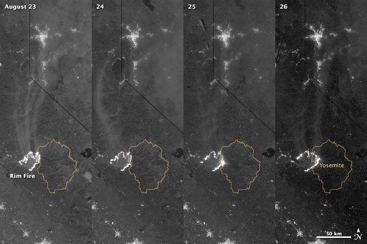 A Nighttime View of California's Rim Fire