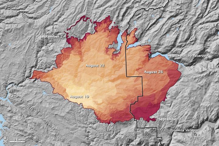 Progression of California's  Rim Fire