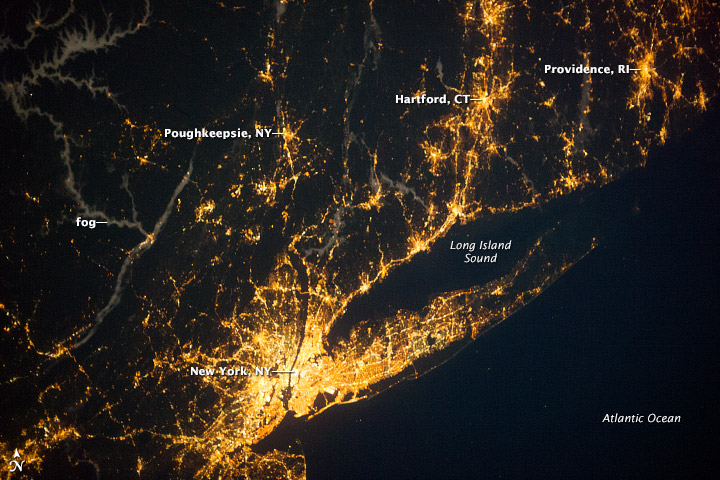Long Island Sound Region at Night