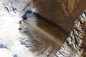 Ash Plume and Lava Flow on Klyuchevskaya Volcano - selected image