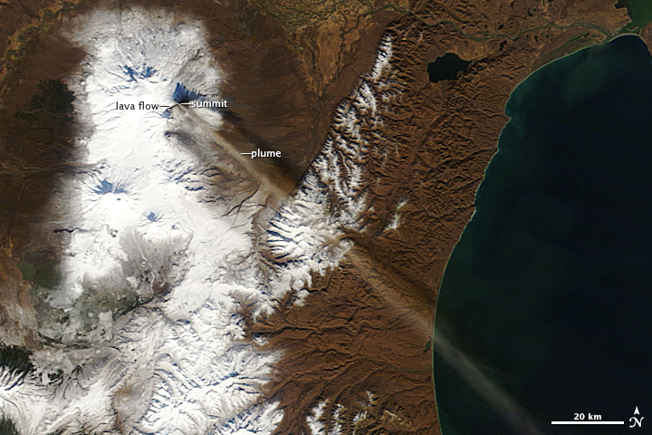 Ash Plume and Lava Flow on Klyuchevskaya Volcano - related image preview