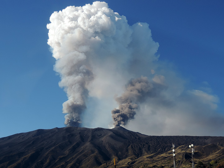 Volcanic Plumes Tower over Mount Etna