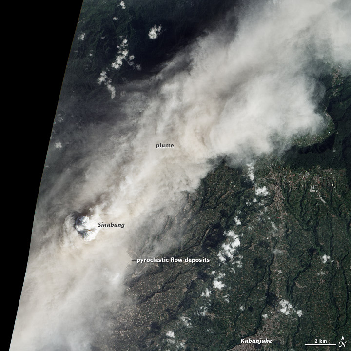 Roiling Ash Plume above Sinabung Volcano
