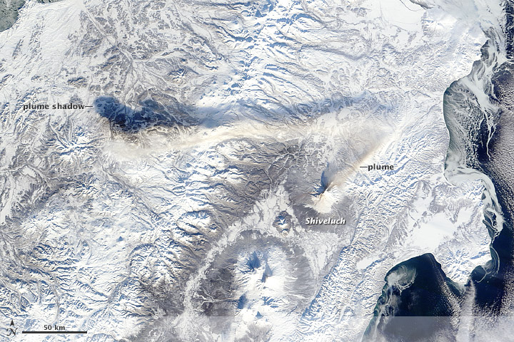 Kinked Ash Plume above Shiveluch Volcano - related image preview