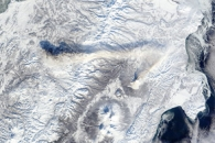 Kinked Ash Plume above Shiveluch Volcano