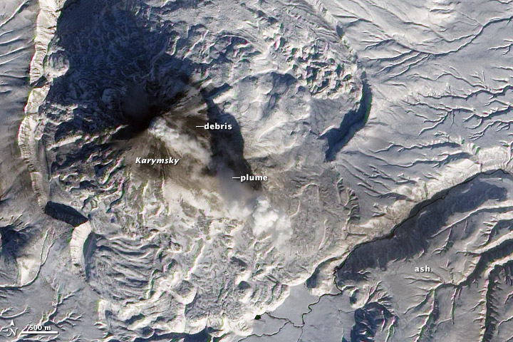 Ash, Steam, and Snow at Karymsky Volcano - related image preview