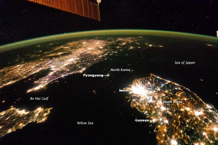 Foto de Corea del Norte a oscuras tomada por la NASA