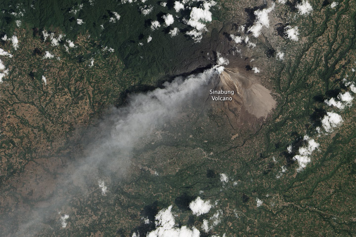 Eruption of Sinabung Volcano, Indonesia