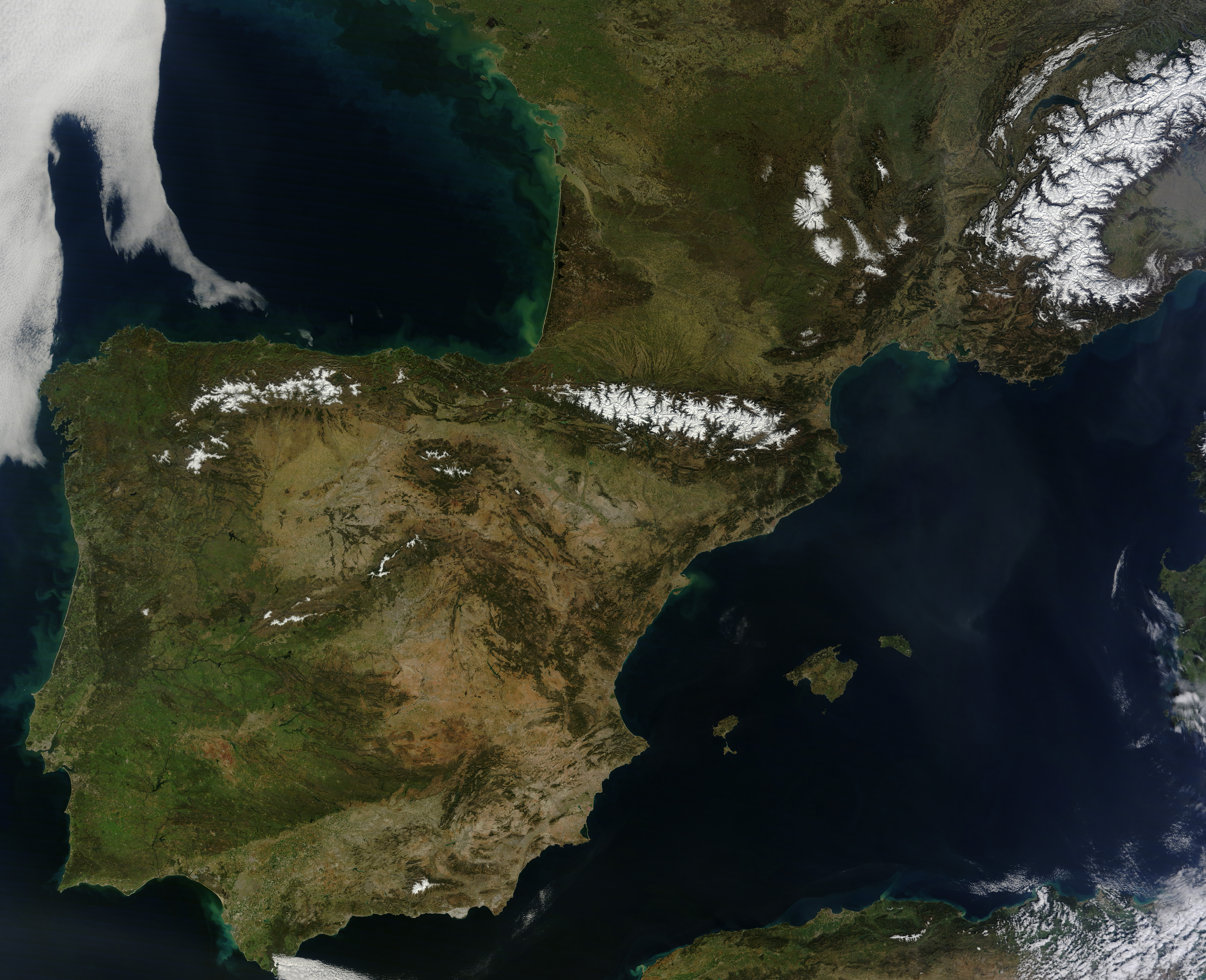 Satellite Map Of Spain.Clear Skies Over The Iberian Peninsula