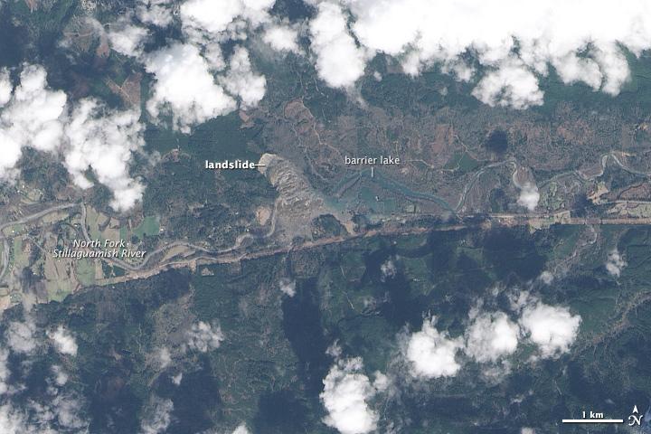 Landslide and Barrier Lake near Oso, Washington