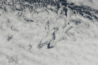 Ship Wave Clouds Behind the Crozet Islands