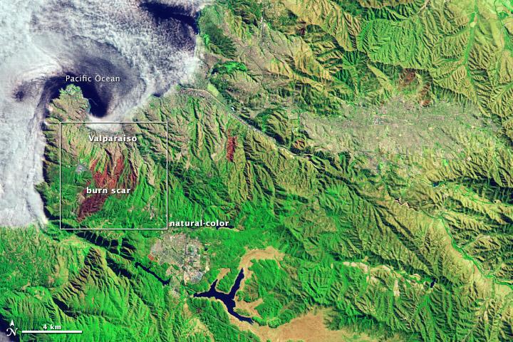 Wildfire Scars Valparaiso, Chile