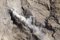 Ash above Ubinas Volcano