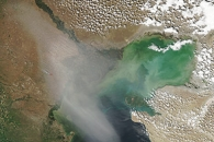 Dust over the Caspian Sea
