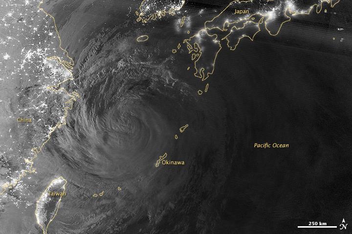 Typhoon Neoguri in Moonlight